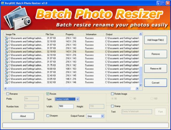 Picture Batch Resizer can be used to resize image files in batch. It supports to resize hundreds of image files at a time.
