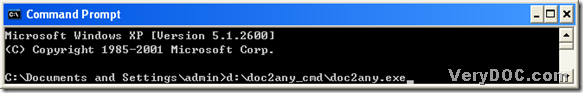 "call ""doc2any.exe"" in command prompt window"