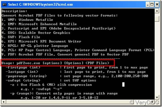 Usage of VeryDOC PDF to Vector Converter