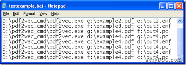 BAT example containing command lines