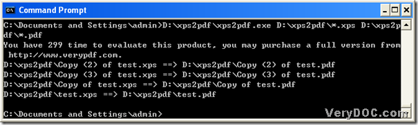 Use VeryDOC XPS to PDF Converter to convert XPS to PDF with command line