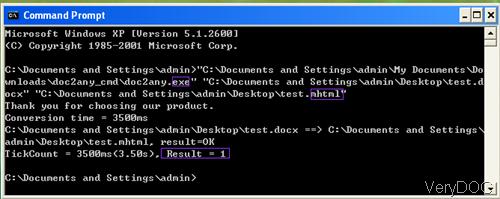conversion process in MS Dos Windows