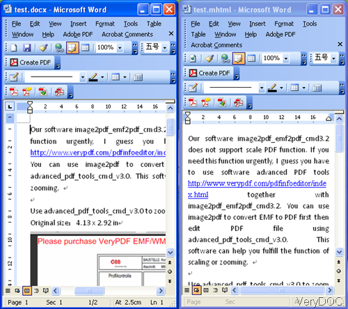 input docx file and output mhtml file