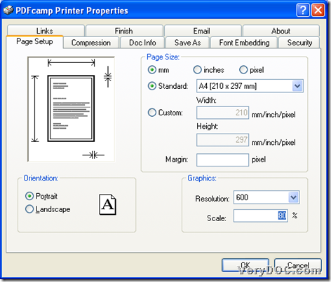 Set graphics resolution and scale during printing PDF with virtual printer