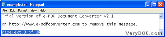 Example text after converting PDF to TXT or raster to text through command line