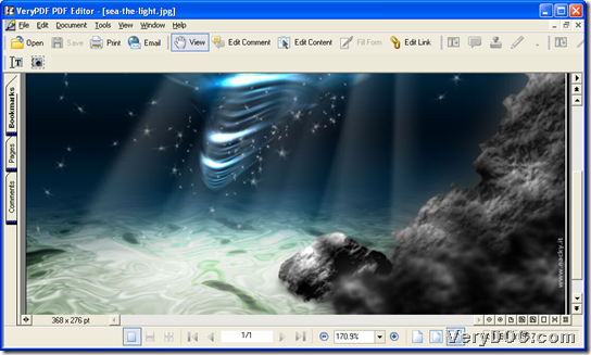 Open image file in GUI interface of VeryPDF PDF Editor