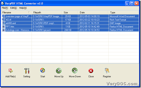 GUI interface of VeryPDF HTML Converter with added files