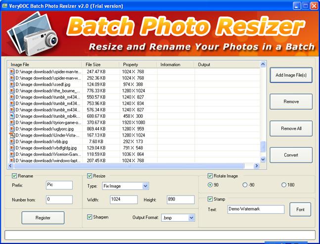 Версия программы. Shareware. Скачать Picture Batch Resizer v2.0.