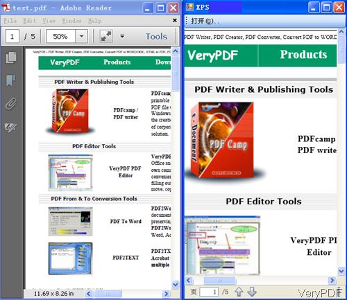 input PDF and output XPS