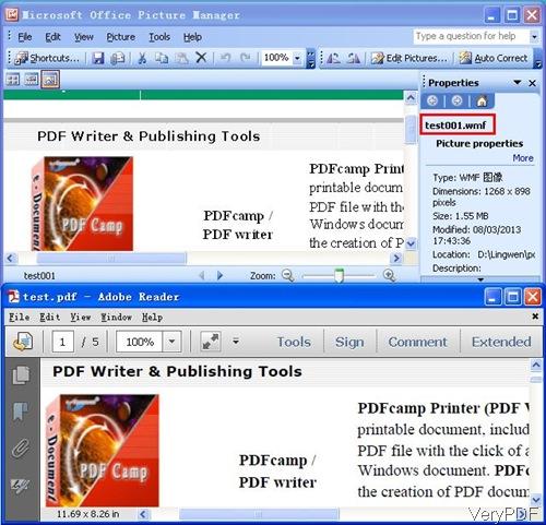 input PDF and output wmf